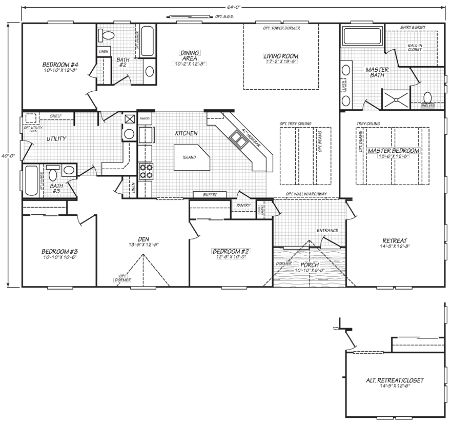 Oakland 40 X 64 2497 sqft Mobile Home