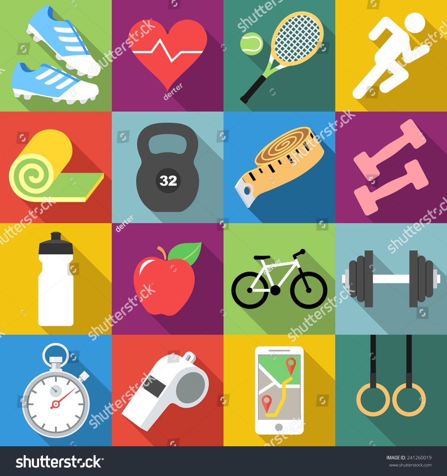 Set of fitness icons in flat design with long shadows #Sponsored , #Ad, #icons#fitness#Set#flat