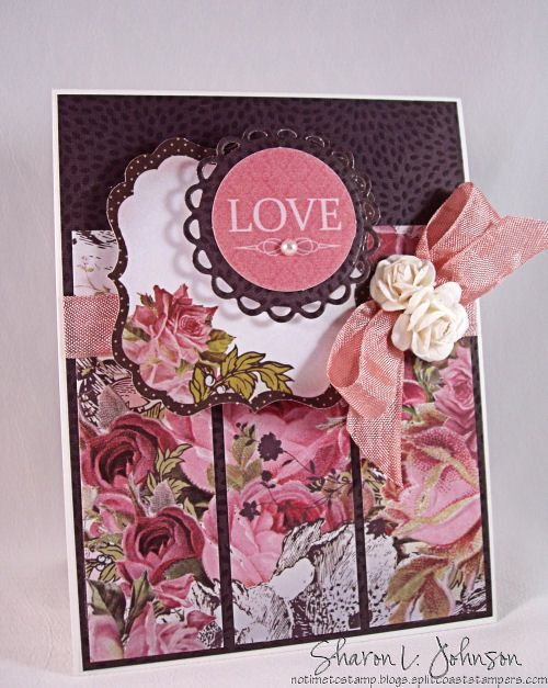 Stunning Floral Love Card...with bow & flower embellishments.  No Time To Stamp?
