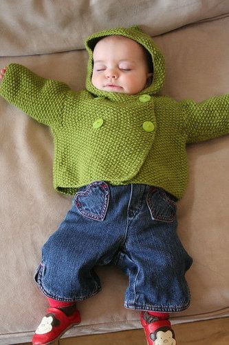Free Knitting Pattern Baby Knits Seed Stitch Hooded Baby Jacket
