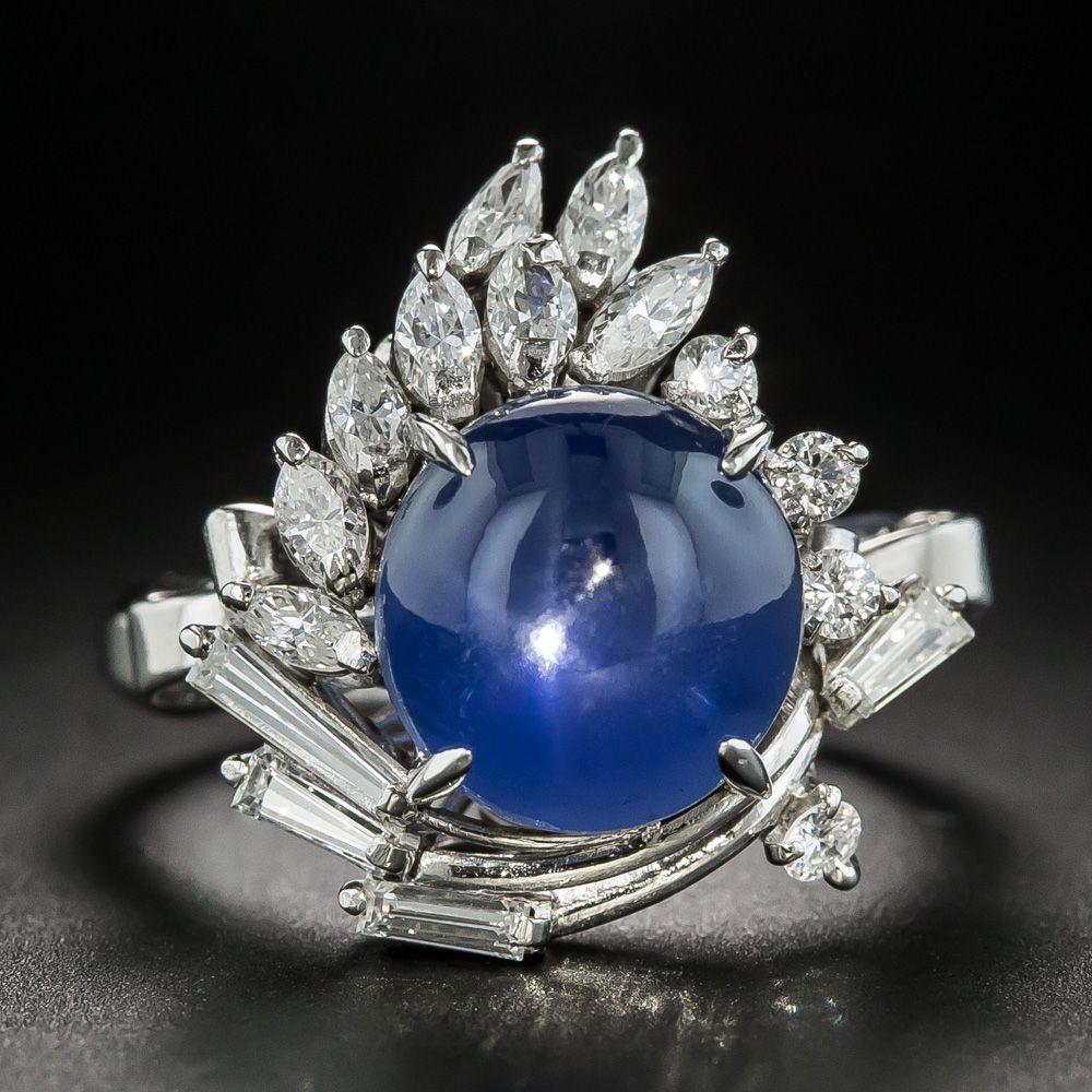 f43dd3bf02966 Star Sapphire Platinum Diamond Cocktail Ring in 2019 | Vintage ...