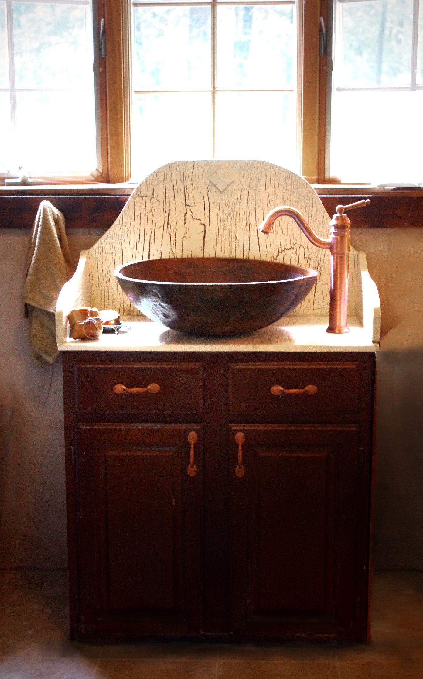 Vintage bathroom sinks - Vintage Brown Stained Wooden Vanities With Copper Vessel Sink And Bronze Metal