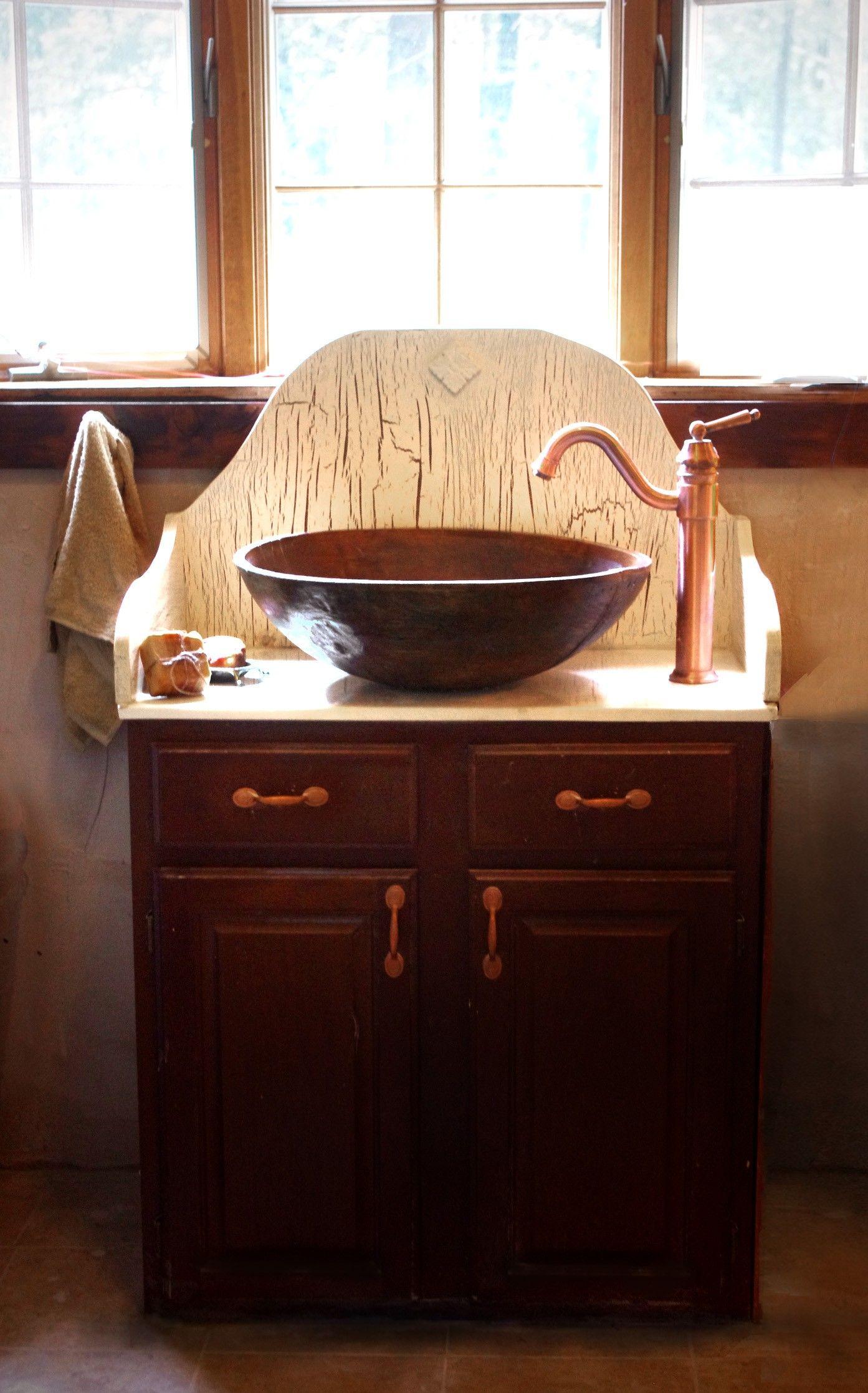 Vintage Brown Stained Wooden Vanities With Copper Vessel Sink And Bronze Metal Vessel Sink Diy Vintage Bathroom Sinks Bathroom Sink Bowls