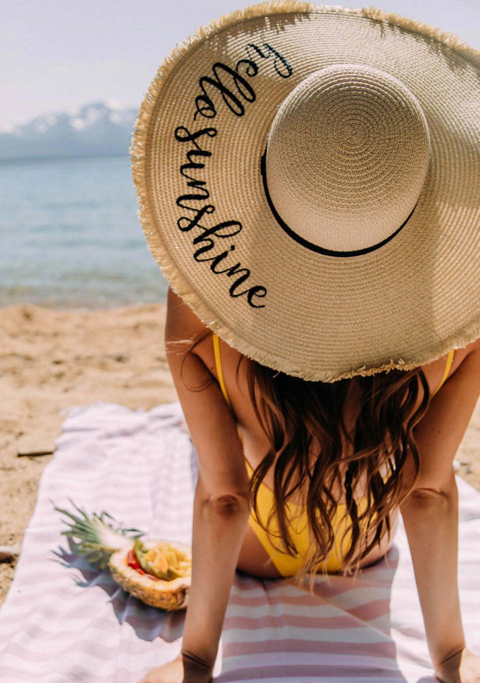 Beach hats tote bags by tickled pink hello shine hat