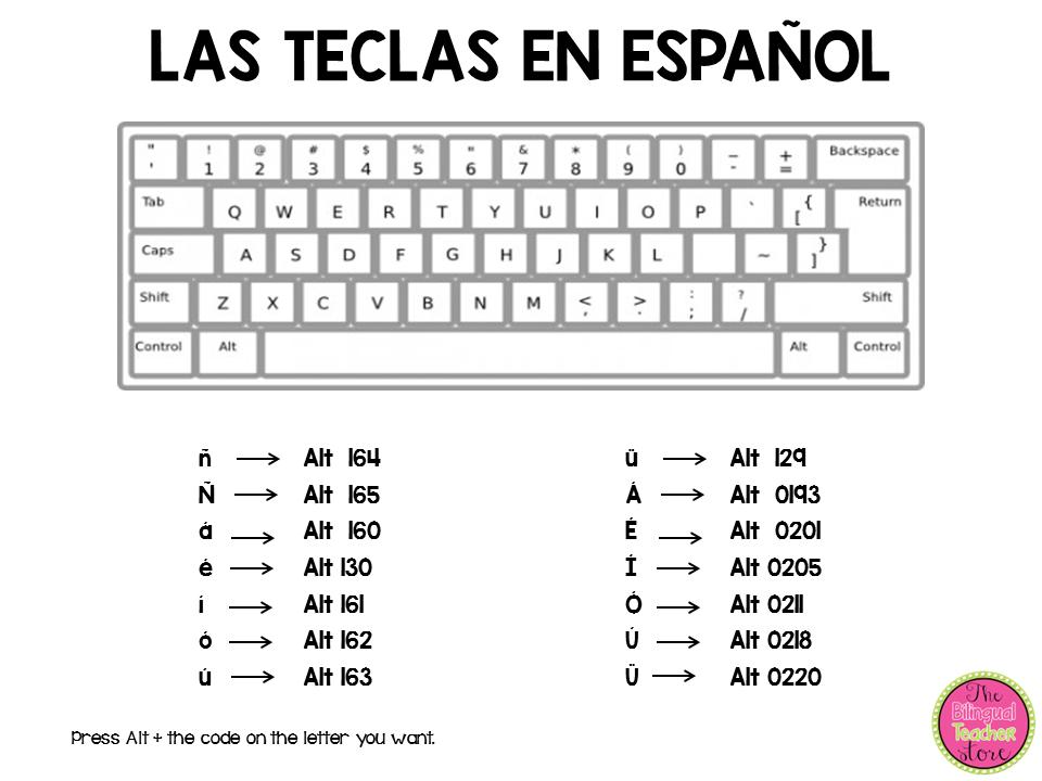 keyboard in spanish  student writing spanish language class