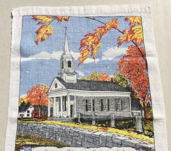 Vintage 1979 Calendar Towel New England Church In The Fall Retro