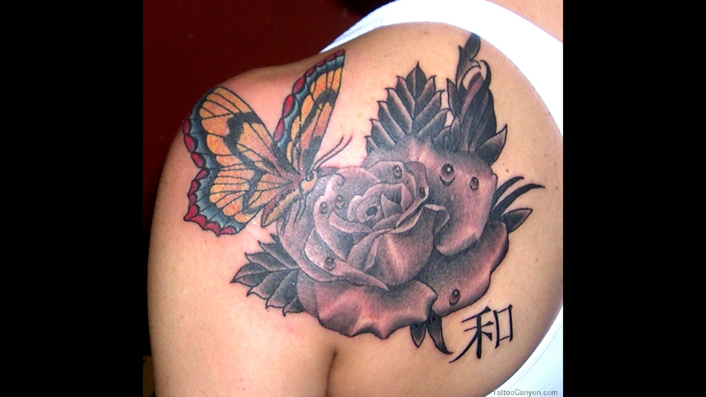 Pin on Butterfly Rose Tattoo