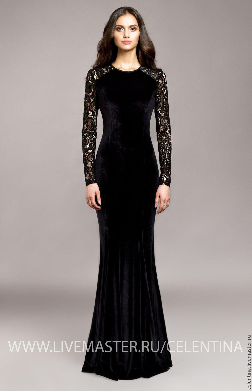 6acc7a6ebadfba7 Купить Длинное бархатное вечернее платье в пол. Черное платье из бархата -  черный, вечернее платье
