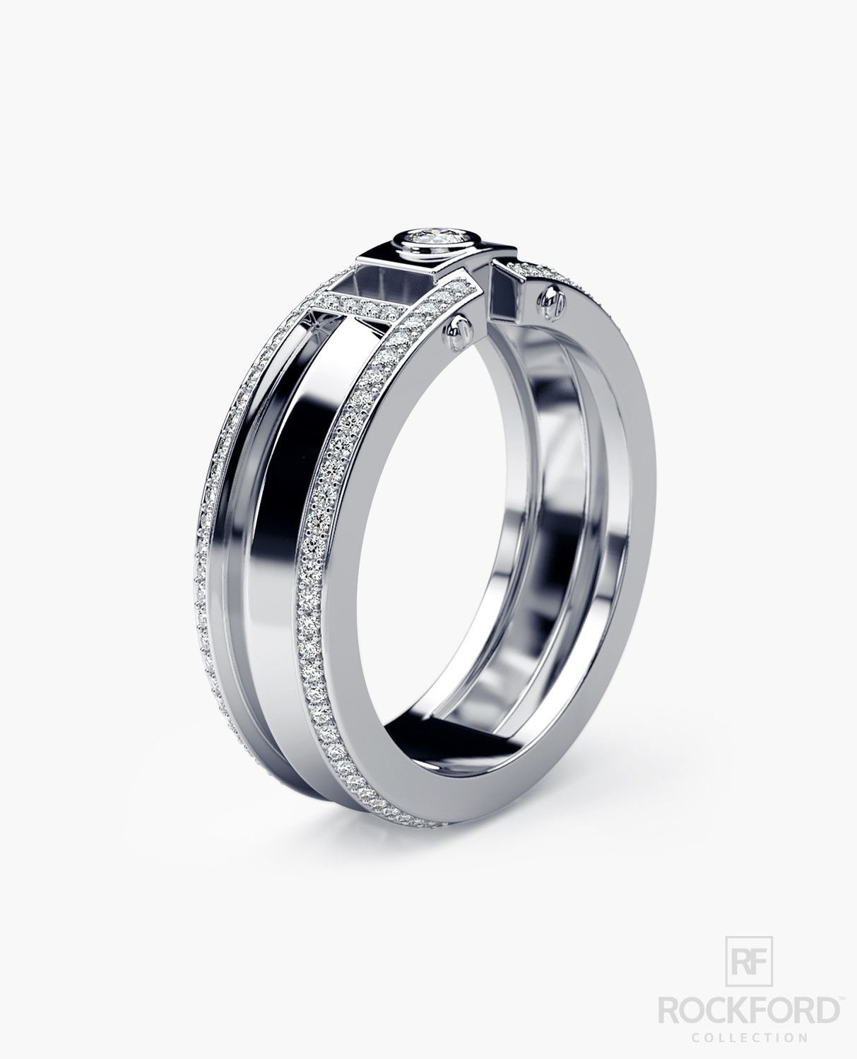 Cleburne Gold Mens Wedding Band With 045 Ct Diamonds