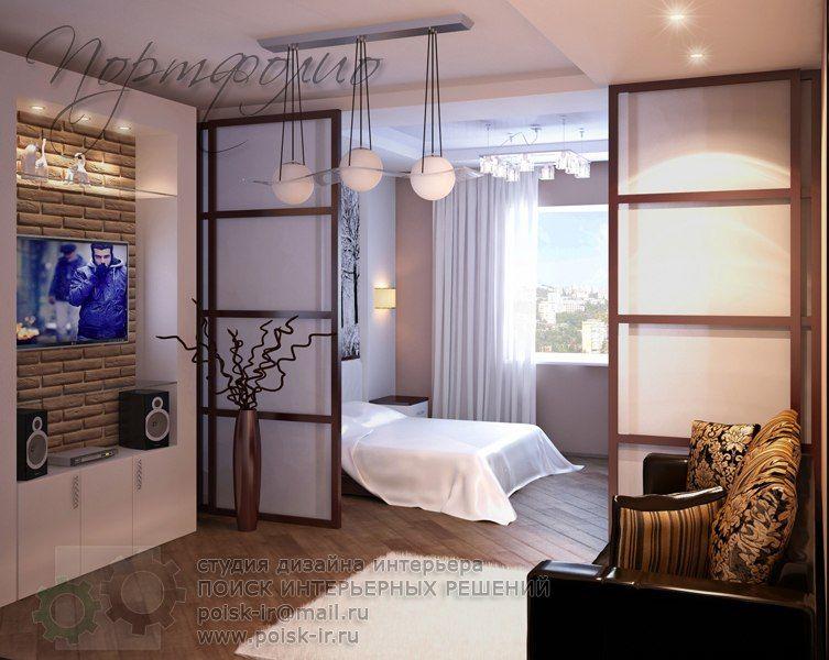дизайн комнаты 20 квм фото с одним окном разделение на 2 зоны 5