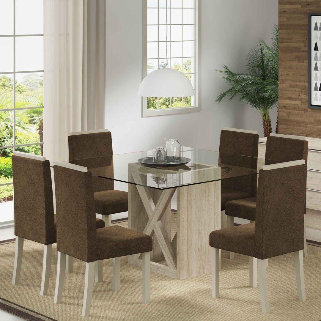 O conjunto de sala de jantar é a peça chave do ambiente. Para garantir elegância na decoração aposte nos modelos com tampo de vidro. :D