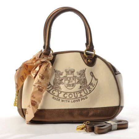 Juicy Couture Embroidery Travel Outdoor Dog Cat Pet Carrier Handbag Tote Purse Bronze