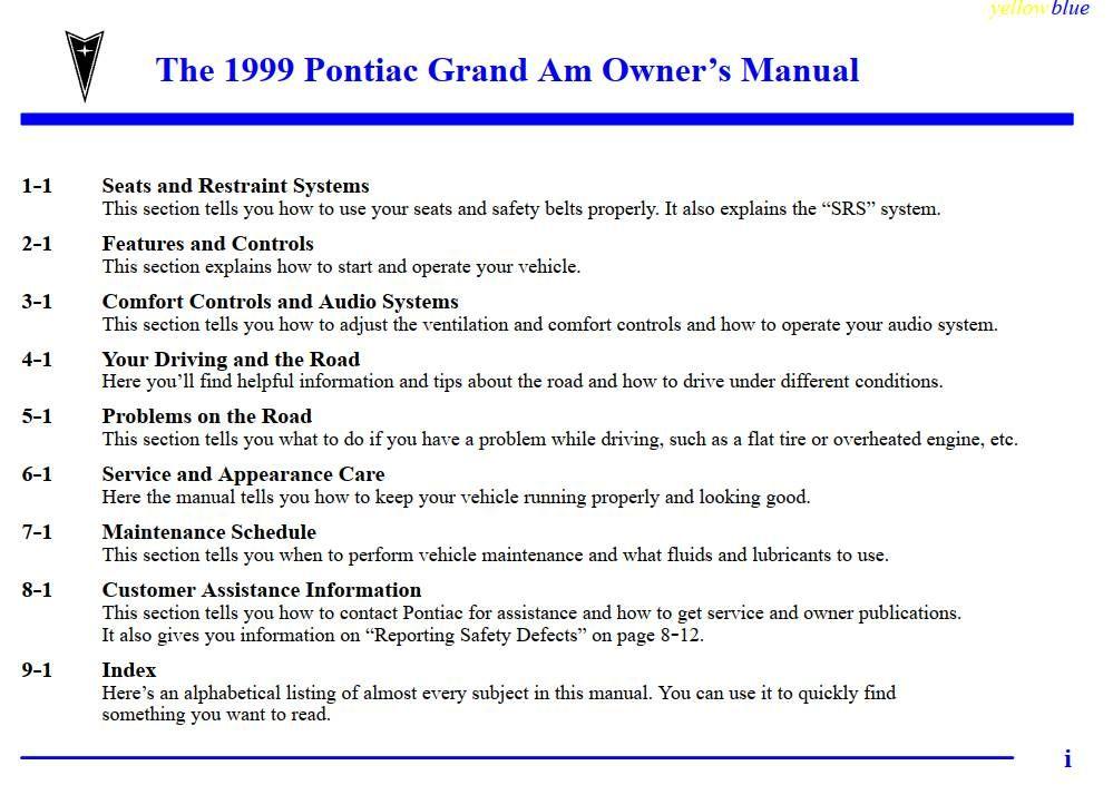 Pontiac Grand Am 1999 Owner S Manual Has Been Published On Procarmanuals Com Https Procarmanuals Com Pontiac Grand Am Pontiac Grand Am Owners Manuals Pontiac
