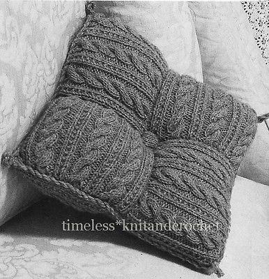 Vintage Knitting Pattern For Patchwork Cushion From Squares 250