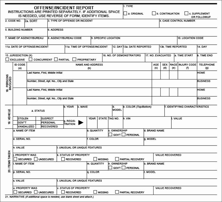 Blank Police Report Template Fresh Crime Report Template Sample Police Report Template Word Report Template Incident Report Police Report