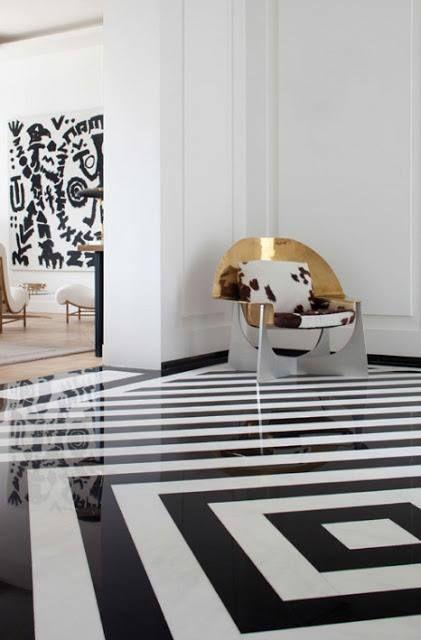 Black Amp White Striped Floor Floor Design Interior