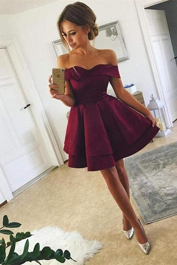 dfa843f634 New Arrival Off-shoulder Simple Cute Homecoming Dresses Short Satin Prom  Dress
