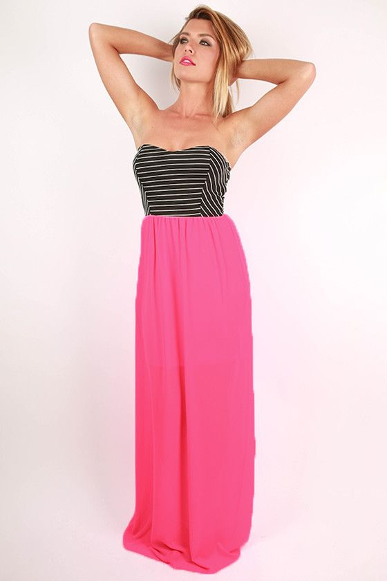 209cb27f3a4f Bahamas Babe Stripe Maxi Dress in Neon Pink