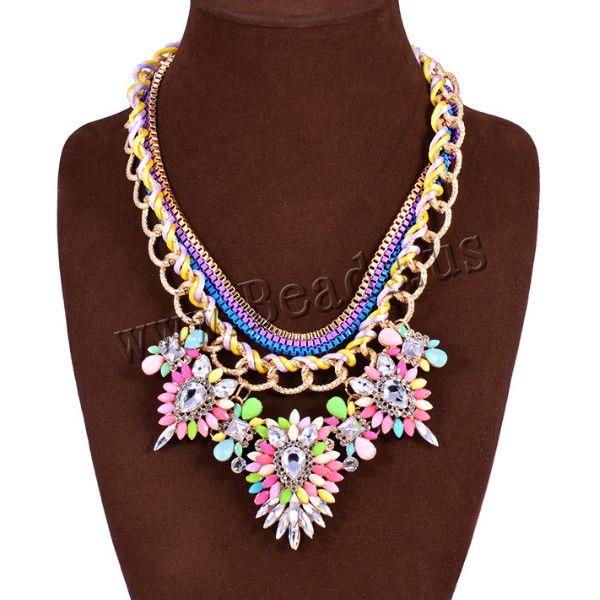 Collar de Declaración, aleación de zinc, con cordón de nylon & Cristal & resina, con 1lnch extender cadena, chapado en color dorado, con electroforesis & facetas & con diamantes de imitación