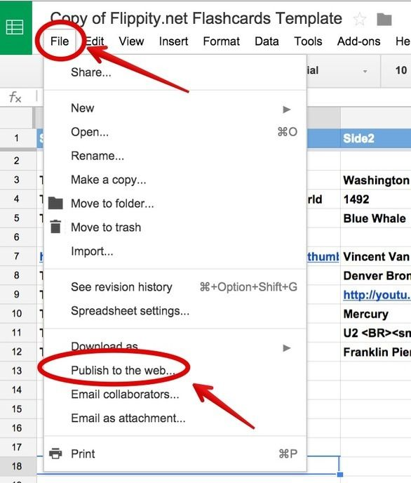 A Step By Step Guide On How to Create Flashcards Using Google - spreadsheet google docs mobile