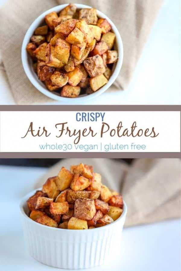 This recipe for crispy air fryer potatoes is simple and finished within 20 minutes. Using oil, seasonings and golden potatoes, the air fryer makes crispy potatoes that are a perfect side dish or breakfast side. Compliant with paleo and whole30 diets.