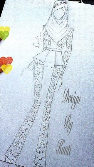 Muslim Dress Batik Kombinasi Polos Fashion Muslim Sketch