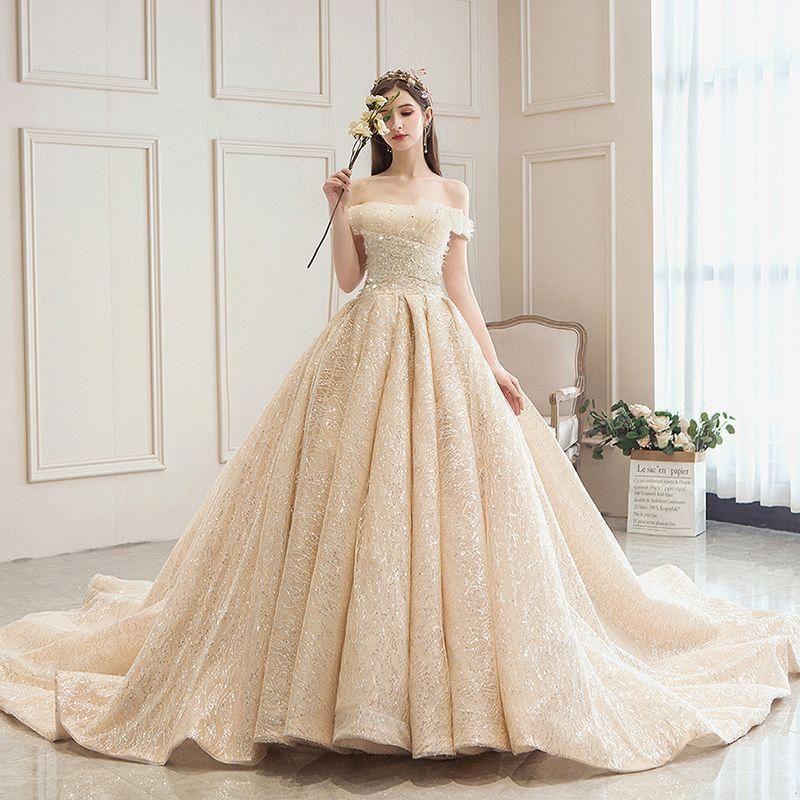 Bling bling champagne wedding dresses 2019 aline