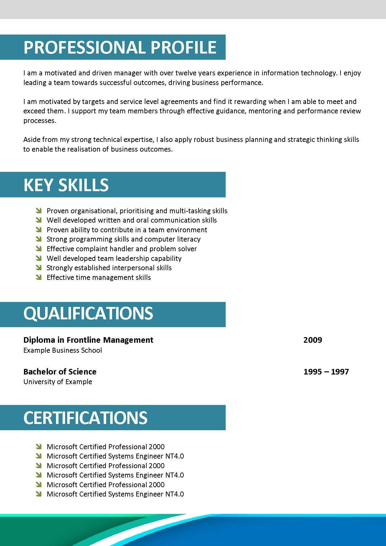 personal profile resume examples