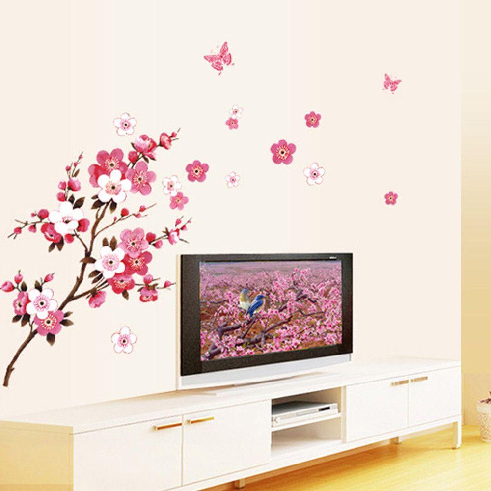 Plantas Flores árbol Mariposa Pared Pegatinas de pared calcomanías Decoración De Pared Arte Habitación