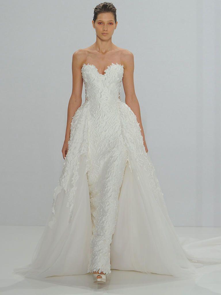 Lisa robertson in wedding dress - Mark Zunino For Kleinfeld Fall 2017 Strapless Sweetheart Crepe Column Wedding Dress With Detachable Ball Gown