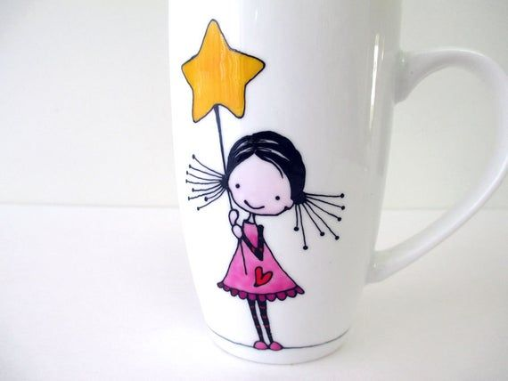 Girl with Stars, Hand Painted Porcelain Coffee Tea Mug Cup, Personalized mug, Funny Mugs, Cute Mugs, Custom Design, Gift for kids, Cute Girl #teamugs