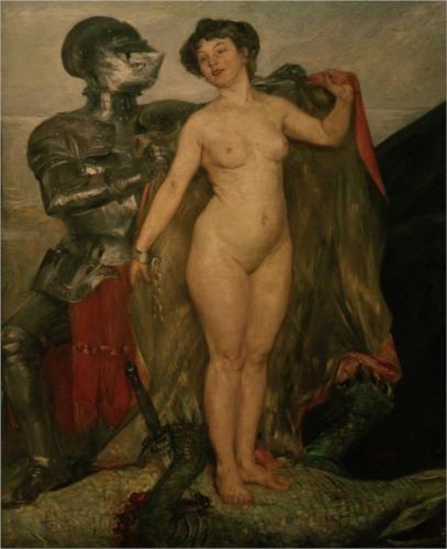 Lovis Corinth (1858 -1925) | Symbolism, Academicism | Perseus and Andromeda - 1900