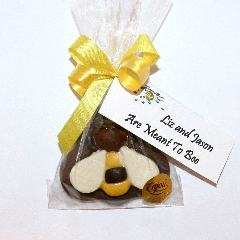 An adorable chocolate bumblebee with a tag that says \