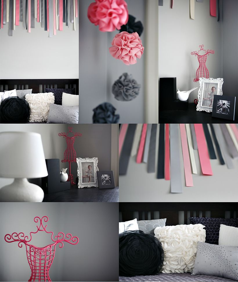 Interior Design Elegant Pink White Gray Baby Girl Room: Awesome Black And White Photo With Colored High Lighting