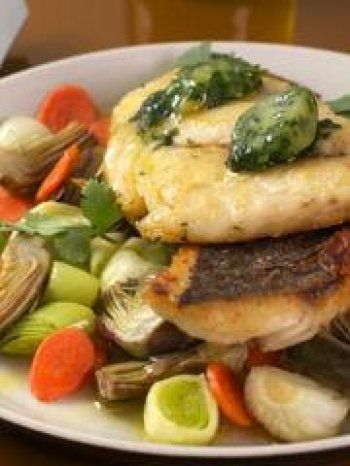 Filet de dorade petits légumes et glaçon huile d'olive coriandre