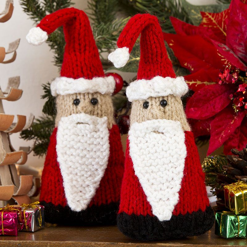 Create a bevy of Santa Gnomes to decorate every corner of your home! These cute Christmas creatures are easy to knit either in flat pieces or in the round.