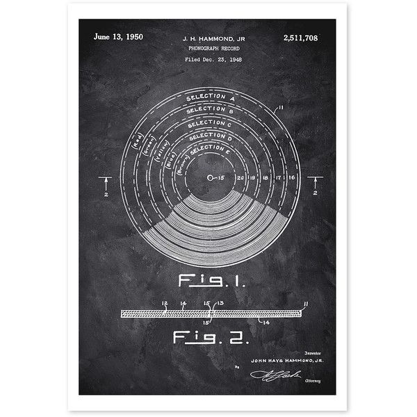 Oliver Gal Vinyl Record 1948 Chalkboard Art Print ($15) ❤ liked on Polyvore featuring home, home decor, wall art and paper wall art