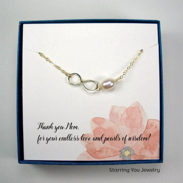 Mom Gifts Infinity Pearl Necklace 14k Gold Filled