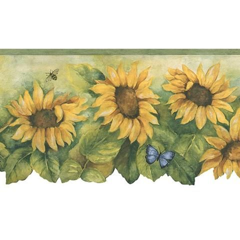 Bg71361dc Yellow And Green Sunflowers And Butterflies Border Total Wallcovering Sunflower Wallpaper Wallpaper Border Butterfly Wallpaper Border