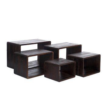 Set de 5 tables gigognes pour habiller le salon ou même pour faire des présentations de produits en  boutique. alia93.com spécialiste du déstockage de mobilier à prix discount
