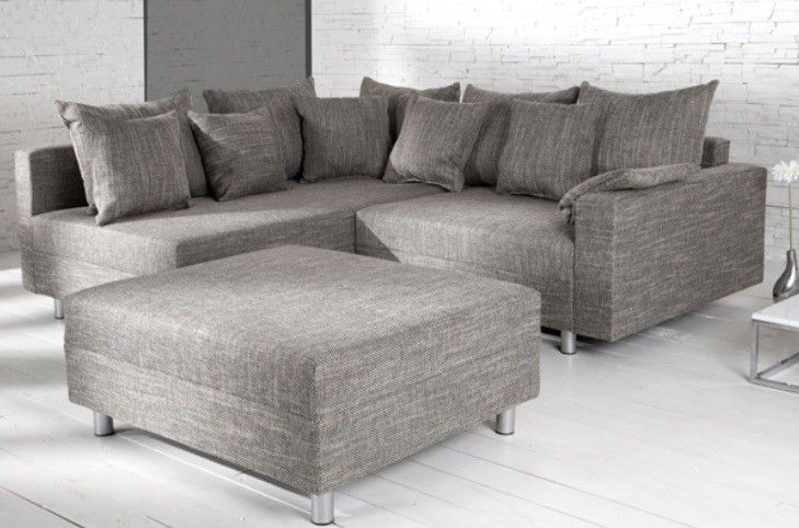 Canape D Angle Modulable Loft Gris Ecksofas Sofa Federkern Sofa