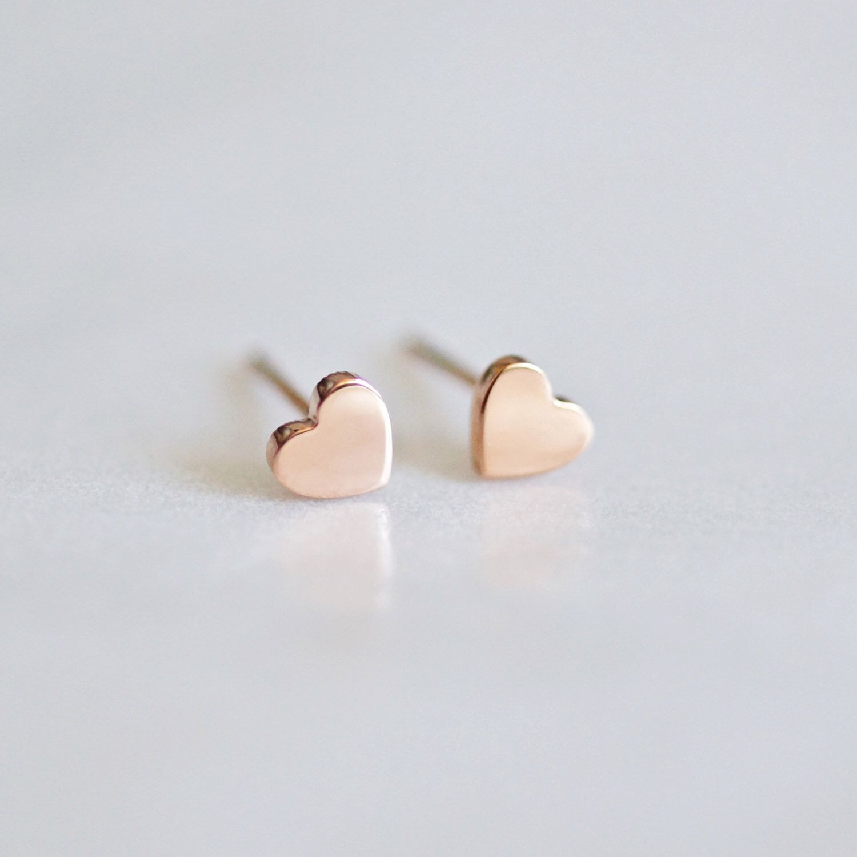 9c61bfe98 Tiny Heart Stud Earrings, minimalist earrings, stud earrings, heart earrings,  rose gold