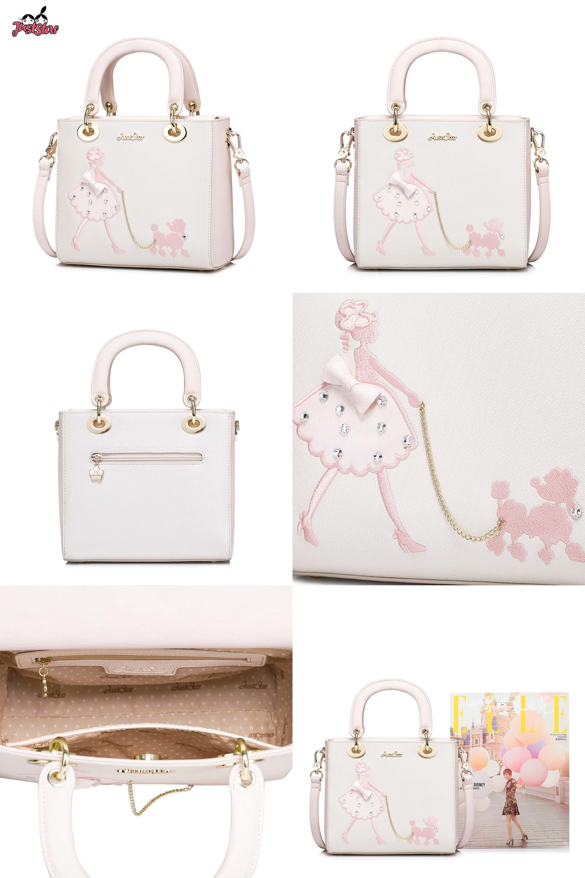 Visit to Buy  JUST STAR Women s PU Leather Handbag Ladies Embroidery Pet Dogs  Tote 5b2b6129369bf