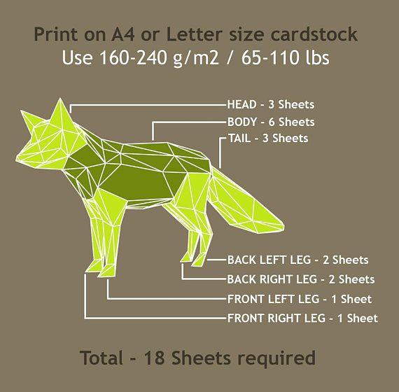 FOX DIY 3D papercraft PDF paper sculpture template origami ...