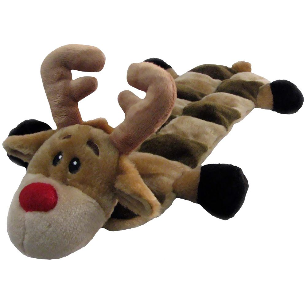 Kyjen Holiday Long Body Squeaker Mat Reindeer Christmas Dog Toy