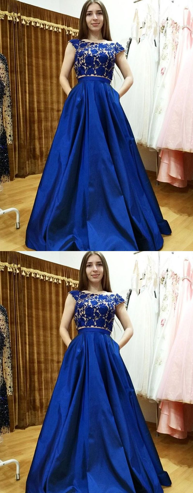 Two pieces prom dresses with sleevesroyal blue prom dresses with