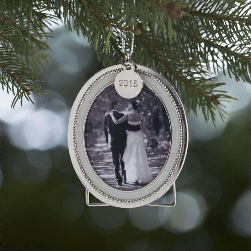Silver Pearl Photo Frame Ornament with 2015 Charm | Crate and Barrel ...