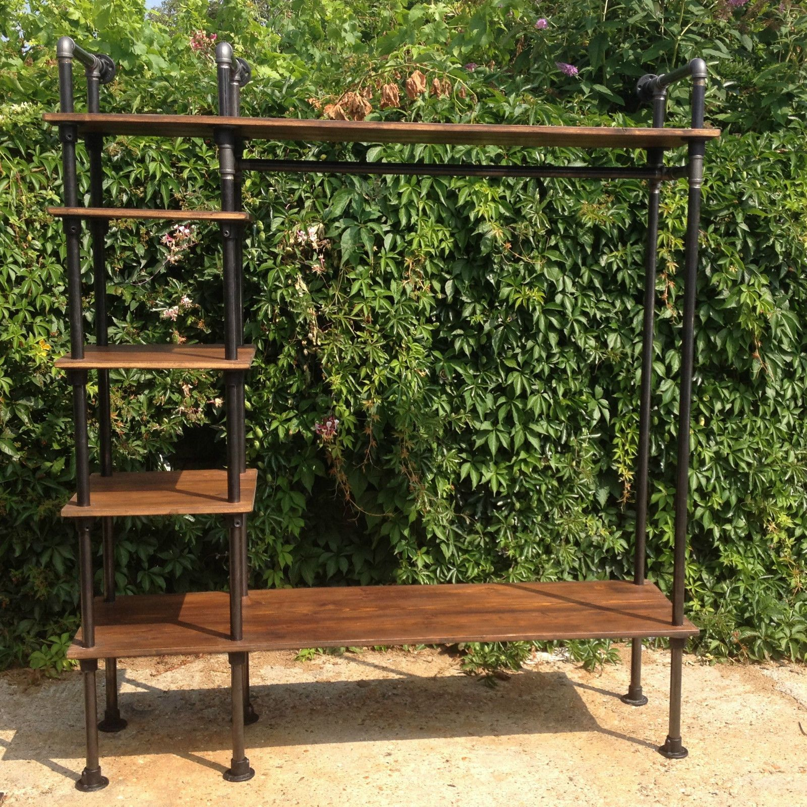 Vintage Industrial Style Retro Clothes Rail Vintage Industrial Style With Gas Pipes