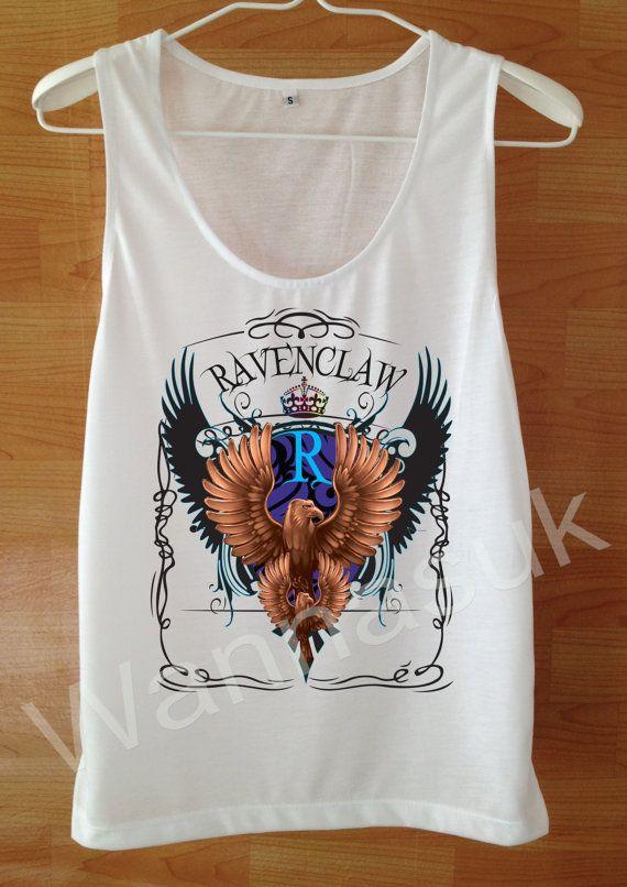 Ravenclaw Spell Tank top Harry Potter Shirt Custom Handmade Screen Print Funny White harry potter Clothing Women Tee Tshirt Shirt S M L