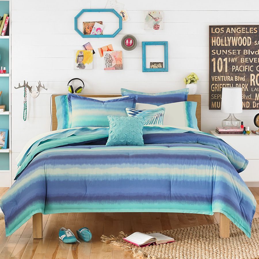 Teenvogue electric beach blue comforter set perfect for for Electric blue bedroom ideas